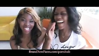 REAL Ebony Sisters Fucking a White Guy first Time ever on Camera
