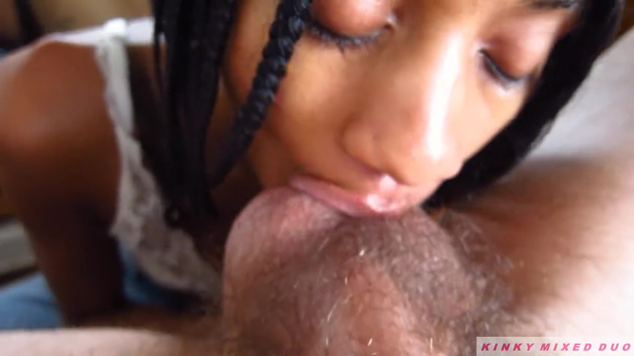 Ebony Sucking Two Dicks